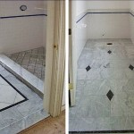 Custom cut black marble diamonds add interest to shower