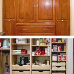 Cherry Pantry with full ext. drawers, vacuum storage & deep drawers for appliances made by Tom Scott