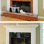 Black marble surrounds existing fireplace