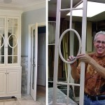 Tom proudly displays detail of fretwork door frame he built for fretwork bath room cabinet