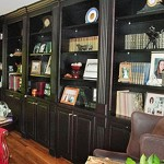 Stained office bookcase built and installed by Tom Scott